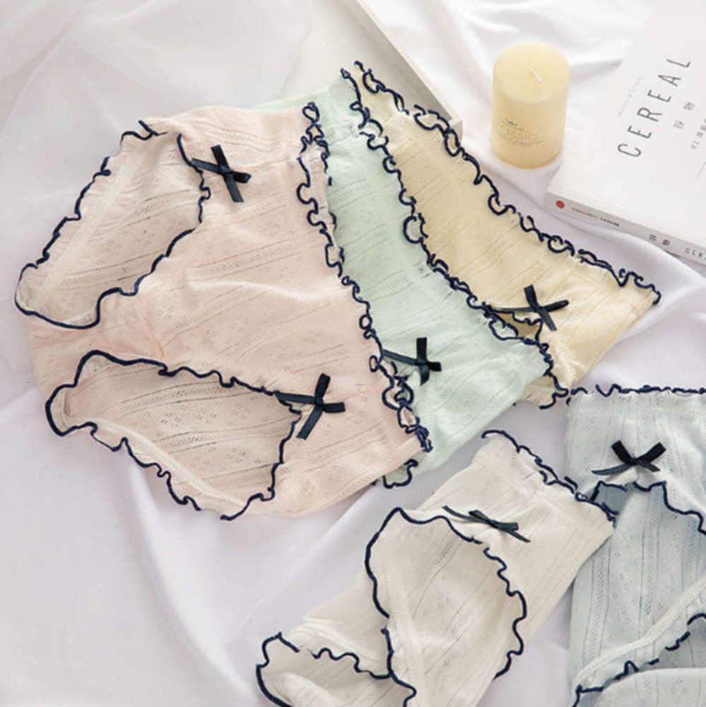 Nouveaux sous-vêtements en automne et hiver Femmes bébé coton respirant treillis de maille double bow fille de fille double taille moyenne taille grande taille