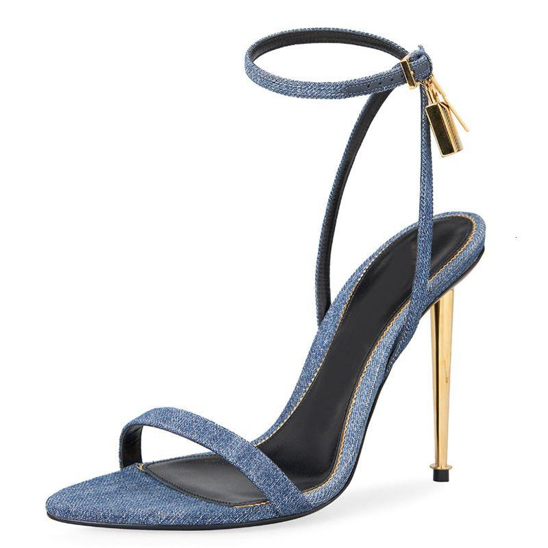 Sandalet Mavi Denim Metal Ince Yüksek Topuk Kadınlar Dar Bant Altın Kilit Dekor Ayak Bileği Kayışı Sandalias Yaz Seksi Parti Elbise Ayakkabı 7K38