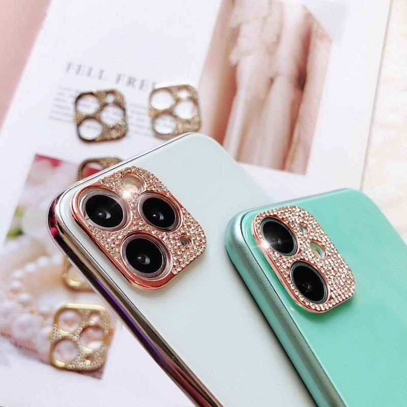 3D Glitter Elmas Bling Rhinestone Kamera Lens Koruyucu Kapak iphone 11 12 Mini Pro Max
