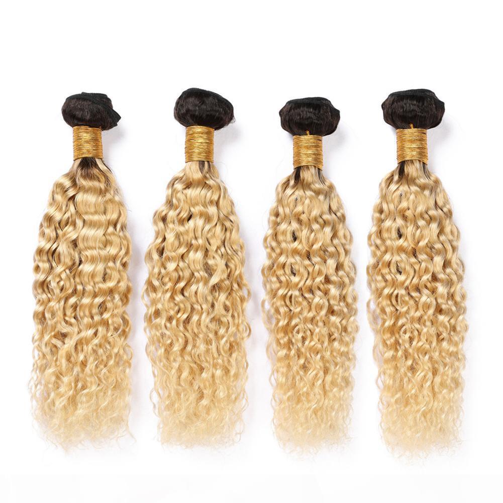 Ombre blonde malaysische nasse und gewellte menschliche haare webart bündel 400gram # 1b 613 dunkle wurzel ombre haarverlängerungen wasserwelle jungfräser haarfuß