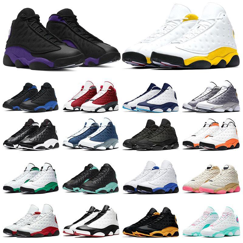 Jumpman 13 Mens Sneakers 농구 운동화 13s 붉은 부싯돌 로얄 블랙 고양이 대학 골드 반짝이 스포츠 트레이너 7-13