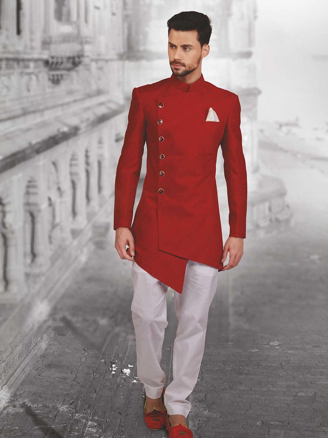 2021 Son Tasarım Uzun Erkek Takım Elbise Hint Düğün Damat Elbise Custom Made Sigara Kırmızı Ceket Pantolon Terno Masculino Düğün Takımları X0909