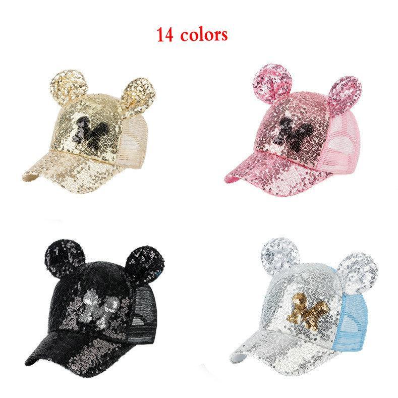 5pcs barnbjörn paljetter baseball keps 2-8y 14 färger pojkar tjejer mode mesh boll hatt netto sol hattar justering Visor kepsar barn boutique tillbehör