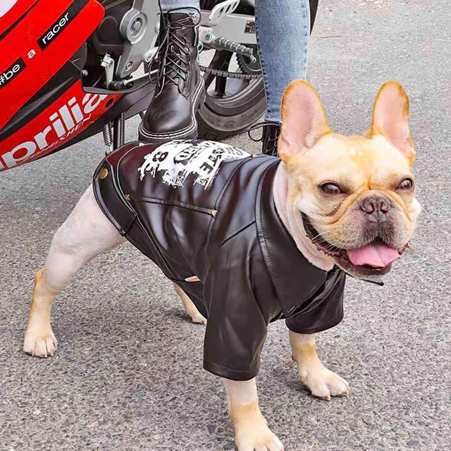 Pet Dog Motorcycle Jacket Biker Jacket Coat Waterproof Winter Dog Clothes for Small Medium Large Dogs Bulldog Pug Pets Clothing