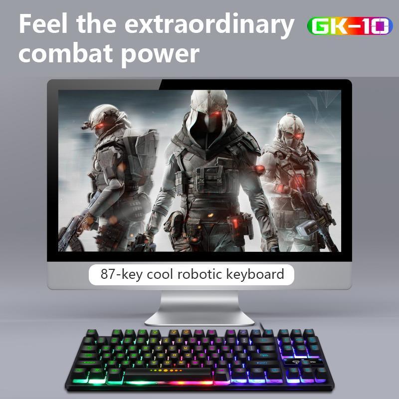 GK-10 Kablolu Mekanik Klavye 87 Tuşlar Mavi Anahtarı Oyun Klavyeleri Tablet Masaüstü PC Gamers Sticker Için Su Geçirmez
