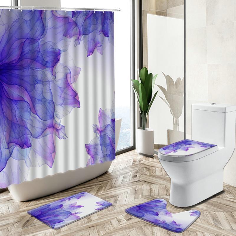 Duschvorhänge Blumendruckvorhang Lila Rendering Aquarell Abstrakte Kunst Home Deco Bath Matte Toilettenabdeckung Flanell Badezimmer Teppich Set
