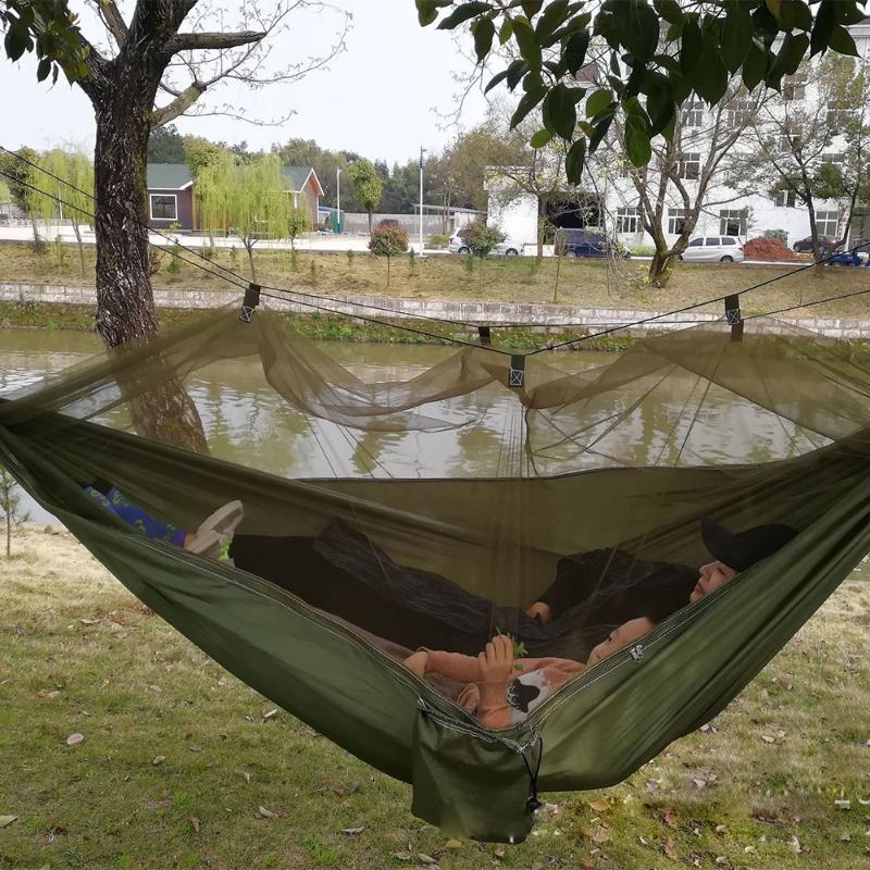 Jeux de plein air Activités Simple Personne double Portable Camping Hamac avec tente de moustiquaire Tente de moustiche suspendue Chasse Swing