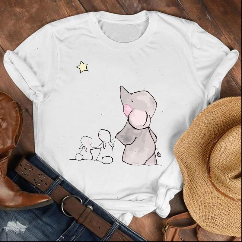 Frauen Dame 90er Jahre Elefant Casual Womens T Shirts Lustige Kurzarm Cartoon Hemd Kleidung T-Stück Top-weiblichen Druck