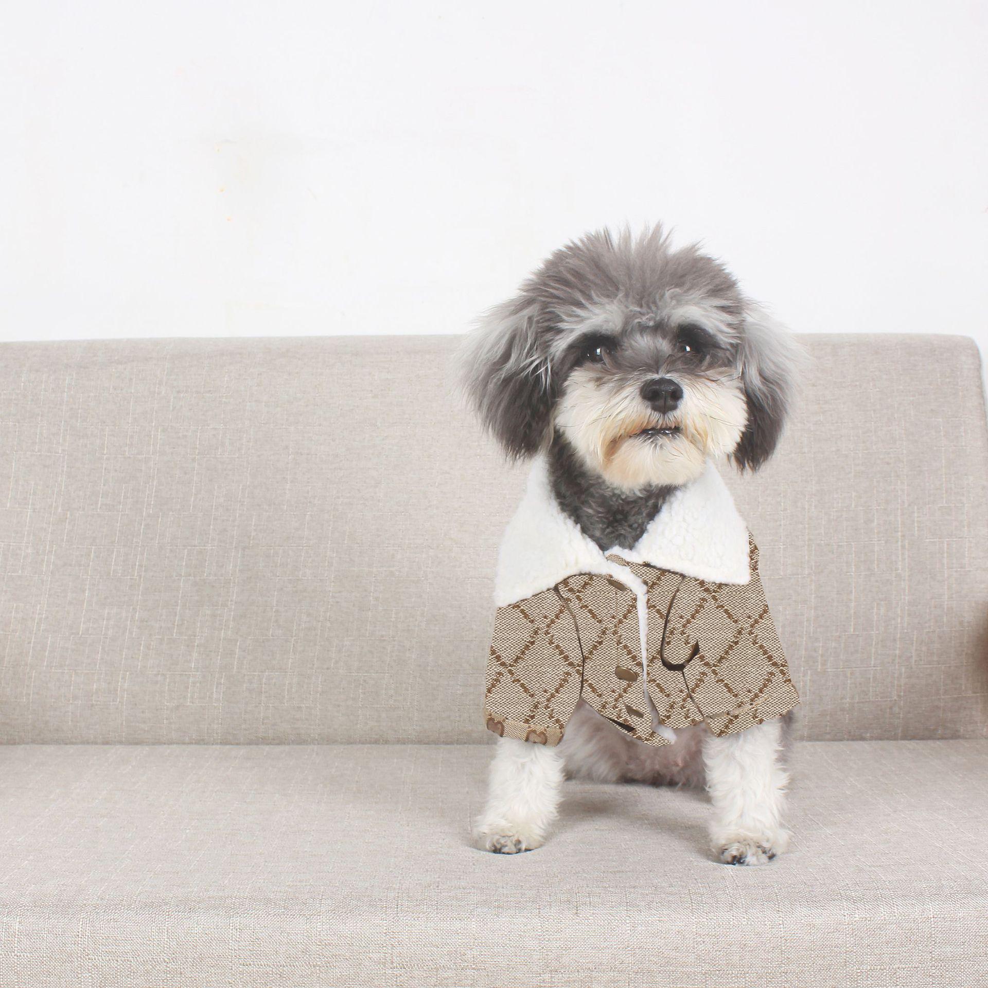 Berber Fleece Coat Dog Apparel Winter Keep Warm Plaid Brown Wool Jackets Puppy Cat Pet Clothes