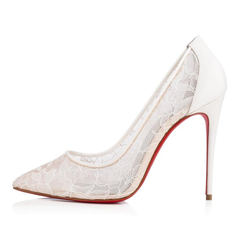 Seksi Gelinlik Ayakkabı 2021 Şeffaf Dantel Siyah Beyaz Ince Yüksek Topuklu Kadın Kadın Büyük Boy C017A Için Pompaları