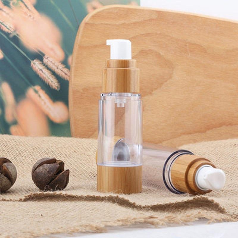15ml30ml50ml Natural Bamboo comme bouteille sans air Cosmétiques Pompe transparente Tête de pompe transportant des bouteilles de lotion de toner cosmétique RRD6920