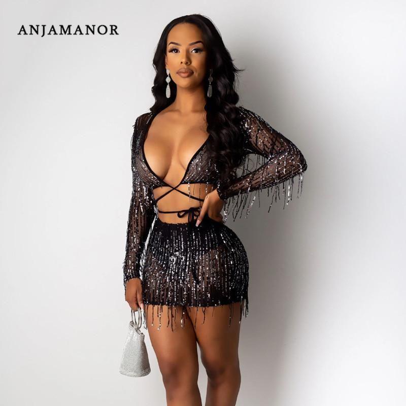 Anjamanor Seksi Güz 2 Parça Setleri Bayan Gece Kulübü Kıyafetleri Sequins Püskül Boncuklu Sheer Mesh Siyah Iki Parçalı Etek Seti D57-AG291