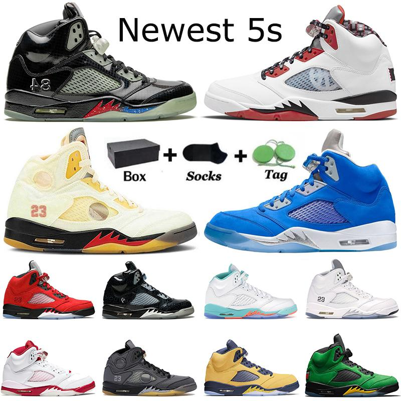 2021 AVEC BOÎTE Nike Air Jordan Retro AJ 5 5s Chaussures de basket Anthracite Raging Bull Jumpman Sports Trainers Sneakers Taille 40-47