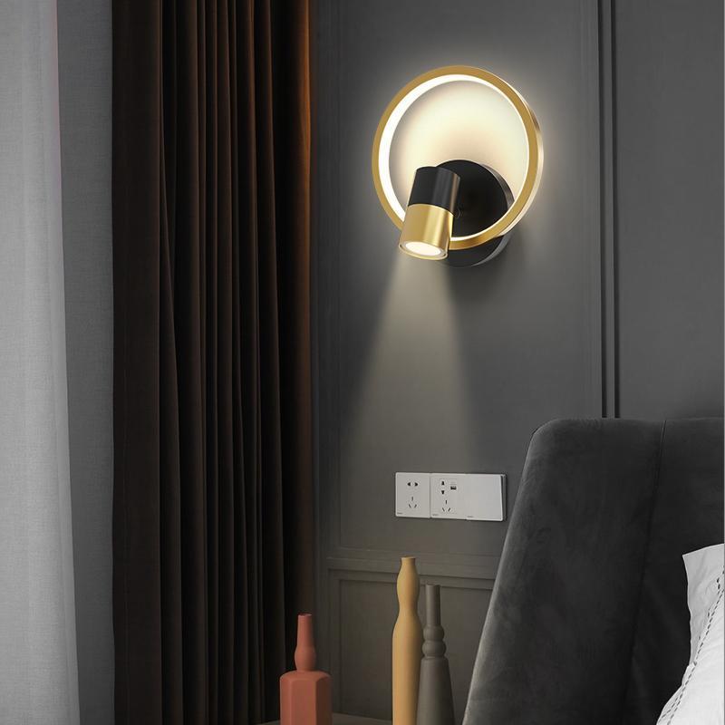 현대 라운드 벽 램프 거실 공부 침실 침대 옆에 통로 입구 스포트 라이트 LED