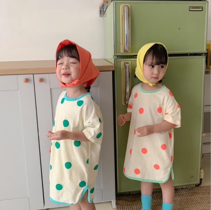 Stil Mädchen Punkte Kleid Mode Sommer Baumwolle Kleider 2-7 Jahre CY936 Mädchen