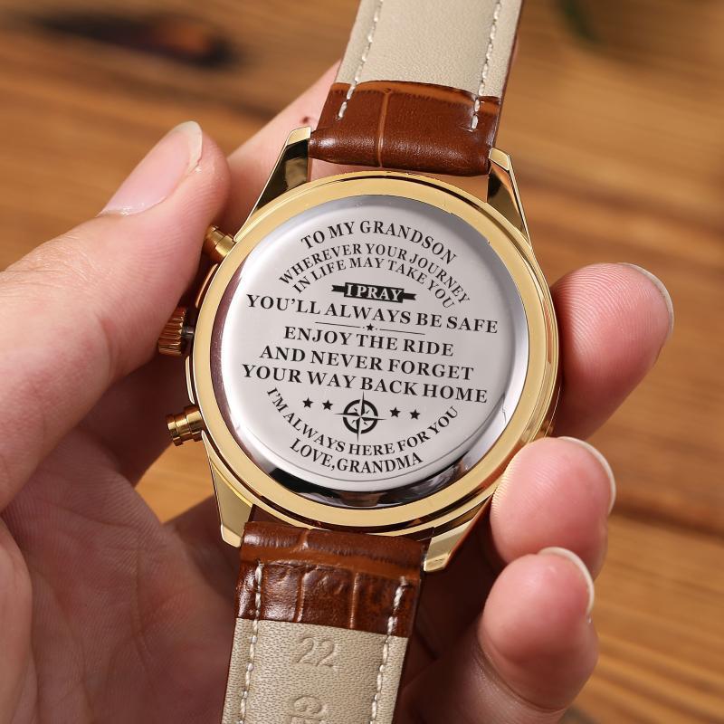 Zu meinem Enkelmode Luxus 30m Wasserdichte Männer Watch Lederband Geburtstagsabschluss Militärische Jubiläumsgeschenke von Oma Armwatche