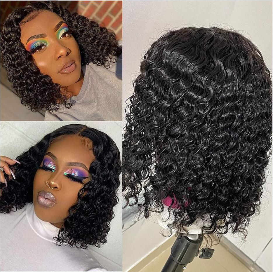 짧은 밥 가발 딥 웨이브 인간의 머리카락 4x4 5x5 13x4 레이스 가발 흑인 여성용 사전 뽑아