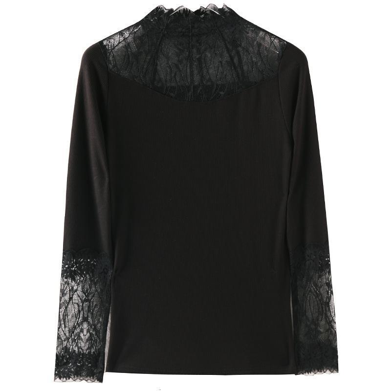 Otoño 2021 Moda Tee Costura de encaje Color sólido Camisa de fondo de punto de manga larga Versátil de manga larga Camiseta grande
