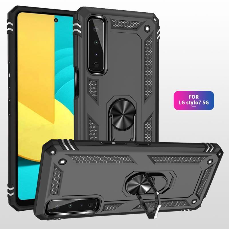 Stock Wojskowy Hybrydowy Armor Przypadki Pierścień Magnetyczny TPU PC Wstrząśniany Obudowa Dla LG Aristo 5 6 Stylo 7 4G K50S K40S K51S K51 K61 Harmony 4 K92 5G K22 K53 Google Pixel 4A