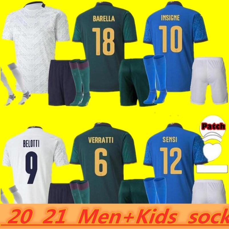 Itália Soccer Jersey 2021 Barella Sensi Insigne 21 22 Copa Europeia Renascimento Chiellini Bernardeschi Camisas de futebol Homens + Kit Kids Uniformes