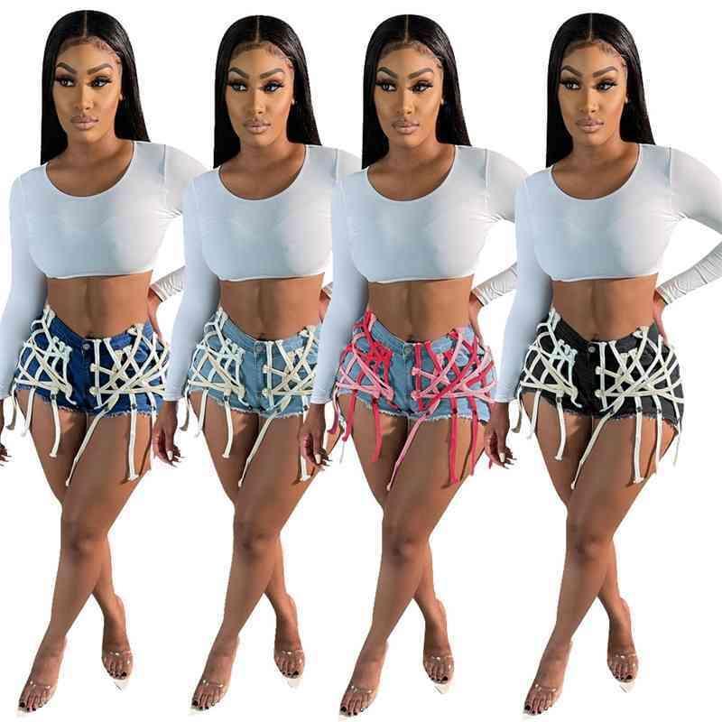 Designer Women Denim Shorts Designer Boutique Dark Ribbon Trousers Non Pants Ladies Mid Waist Butt Lift Bandage Sports Loose Leggings