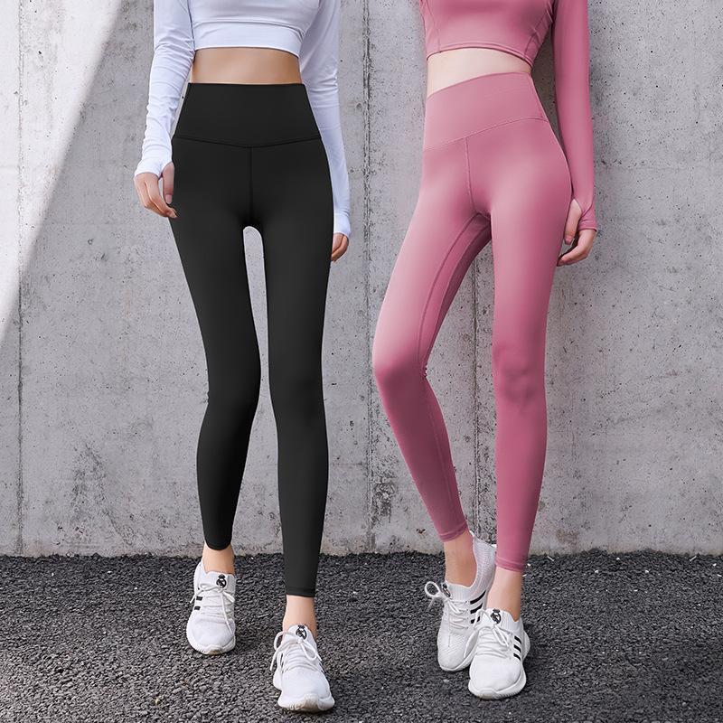 Leggings de mujer InitialDream Sporting Mujeres Fitness Pantalones Sólido Cintura Alta Cintura Slim Elástico Push Up Leggins Outwear Outwear Pantalones de jogging