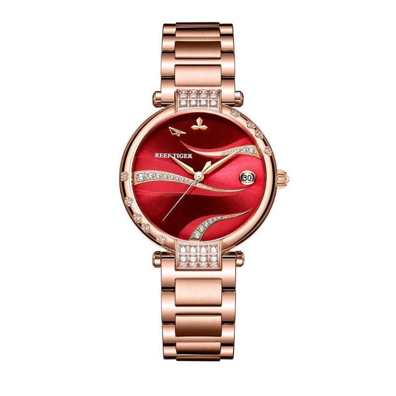 Armbanduhren 2021 REEF TIGER / RT Roter Zifferblatt Rose Gold Luxus Mode Diamant Frauen Uhren Edelstahl Armband Automatische RGA1589