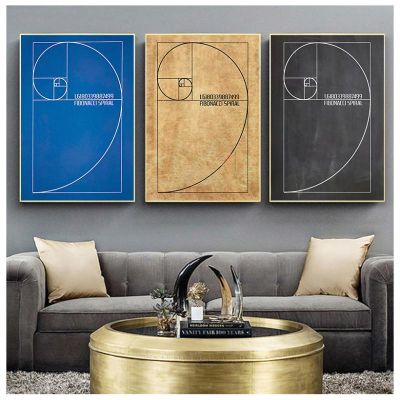 Paintings Fibonacci Spiral Patent Wall Art Canvas Painting Golden Ratio Posters And Prints Vintage Blueprint Gift Idea Science Decoration