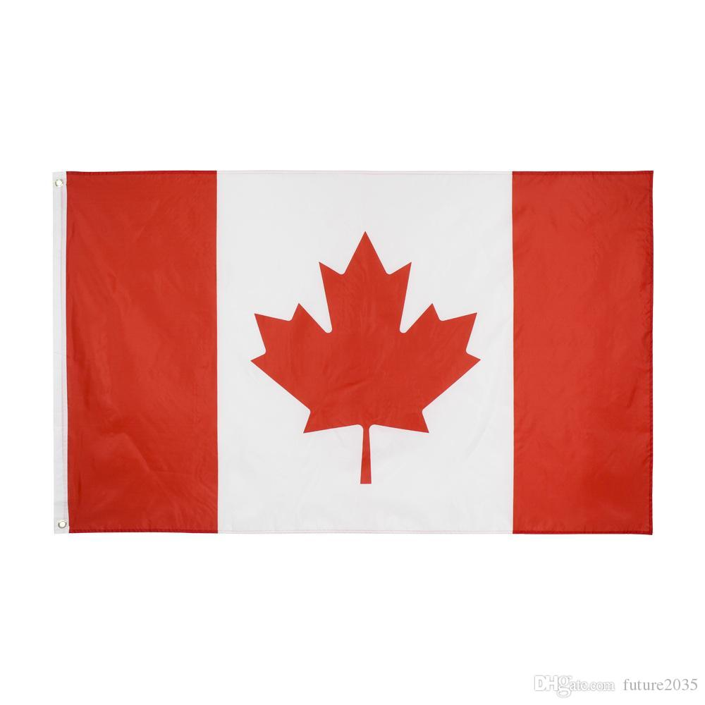 Canada Flags Polyester Square Garden Supplies Canadian National Day Maple Leaf Flag CA Banner Free DHL