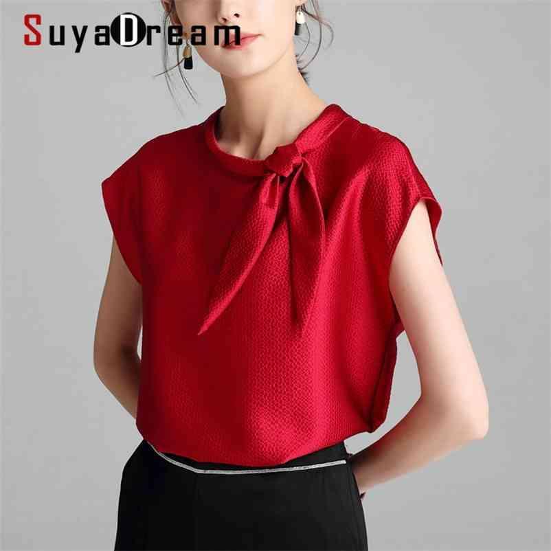 Suyadream Kadınlar Katı T Shirt 100% Ipek Saten Yay Yaka Batwing Kollu Gömlek Yaz Zarif Top 210401