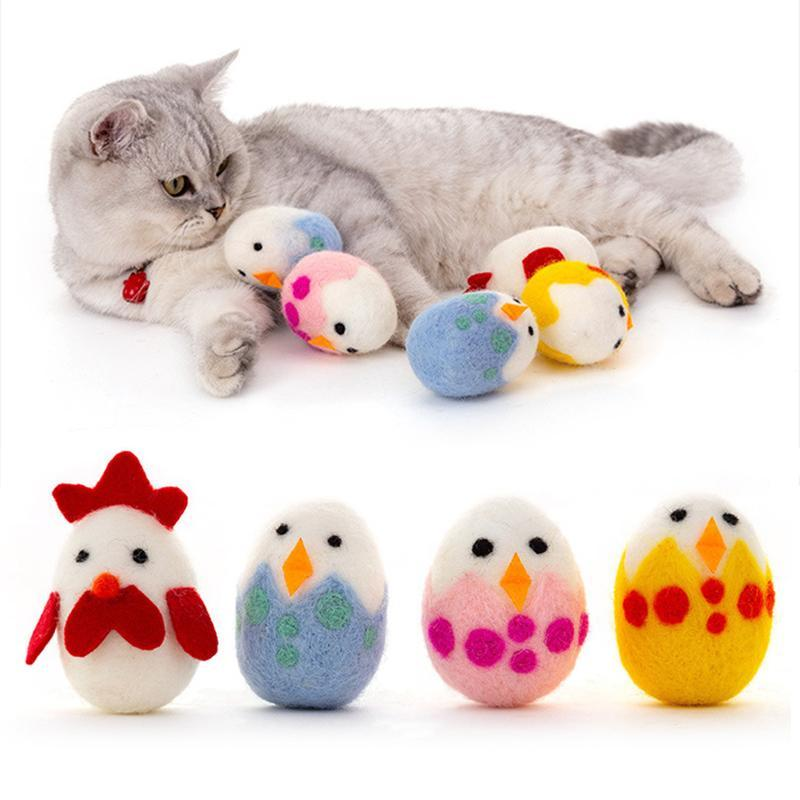 6PCS/Set Est Cat Chewing Toy Easter Egg Catnip Toys Interactive Teething Woolen Multicolor Ball