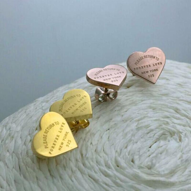 Sonsuza Aşk Küpe 316L Moda Tasarımcısı Küpe Altın Hoop Küpe Lady Kadınlar için Parti Düğün Lovers Hediye Nişan Takı Gelin için
