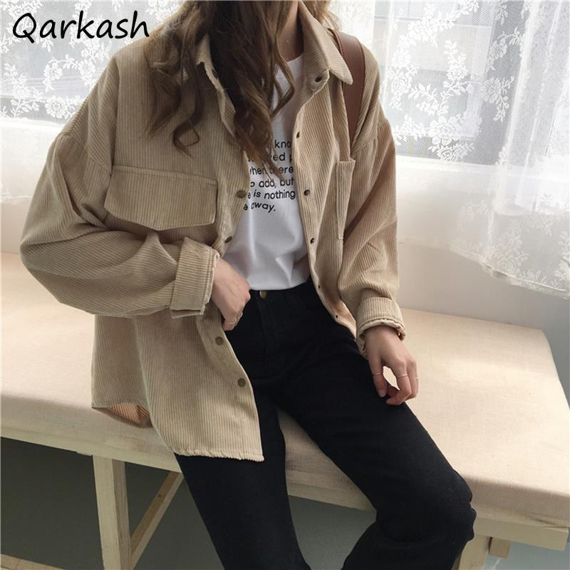 Women's Jackets Basic Women Corduroy Pure Color Spring Harajuku College Casual Minimalist Loose All-match Female Cozy Japan Style Ins