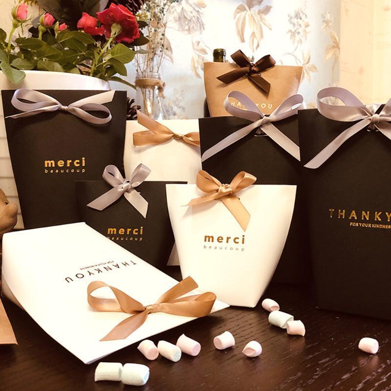 Gift Wrap 5pcs Fashion Merci Thank You Candy Box Kraft Paper Packages Wedding Dragee Cookie Bags Wrapping Supplies