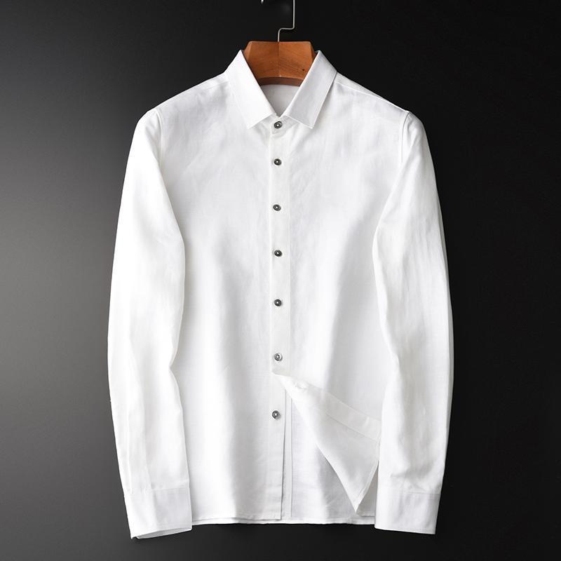 클래식 린넨 남성 셔츠 럭셔리 스프링 환기 비즈니스 캐주얼 셔츠 4XL 슬림 긴 소매 흰색 드레스 남성