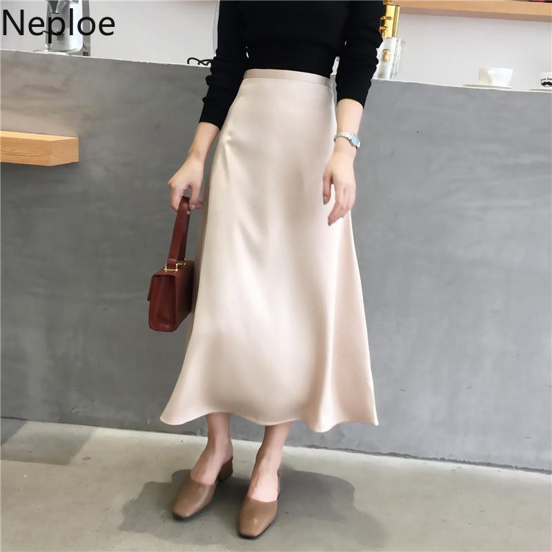 Neuploe Retro Femmes Printemps 2020 Nouvelle Arrivée Solide Fermeture à glissière haute Supérieur Mody Skirts Mode Slim Femelle Bas 49715