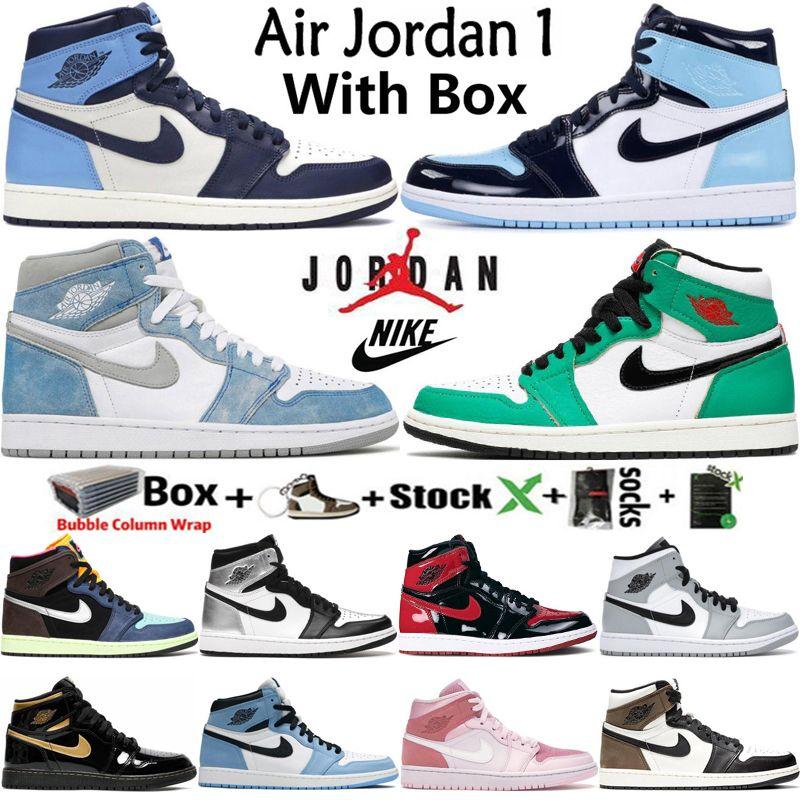 Con box aria jordan jumpman retro 1 og 1s mens scarpe da basket obsidian unc iper università blu universitaria blu fortunato verde bruna vernice da donna scarpe da ginnastica formatori taglia 36-46