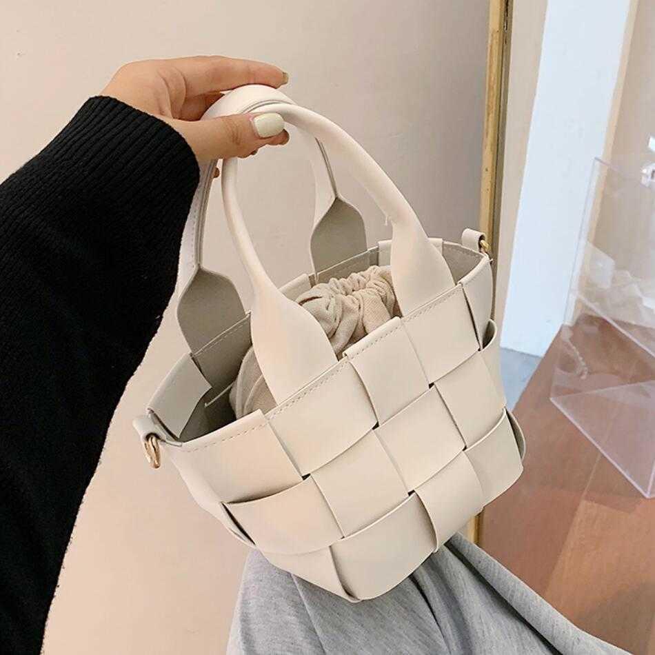 Weave Tote Bucket Bag 2021 Mode Neue hochwertige Leder Damen Designer Handtasche Reise Schulter Messenger Bag Telefon Geldbörsen C0601