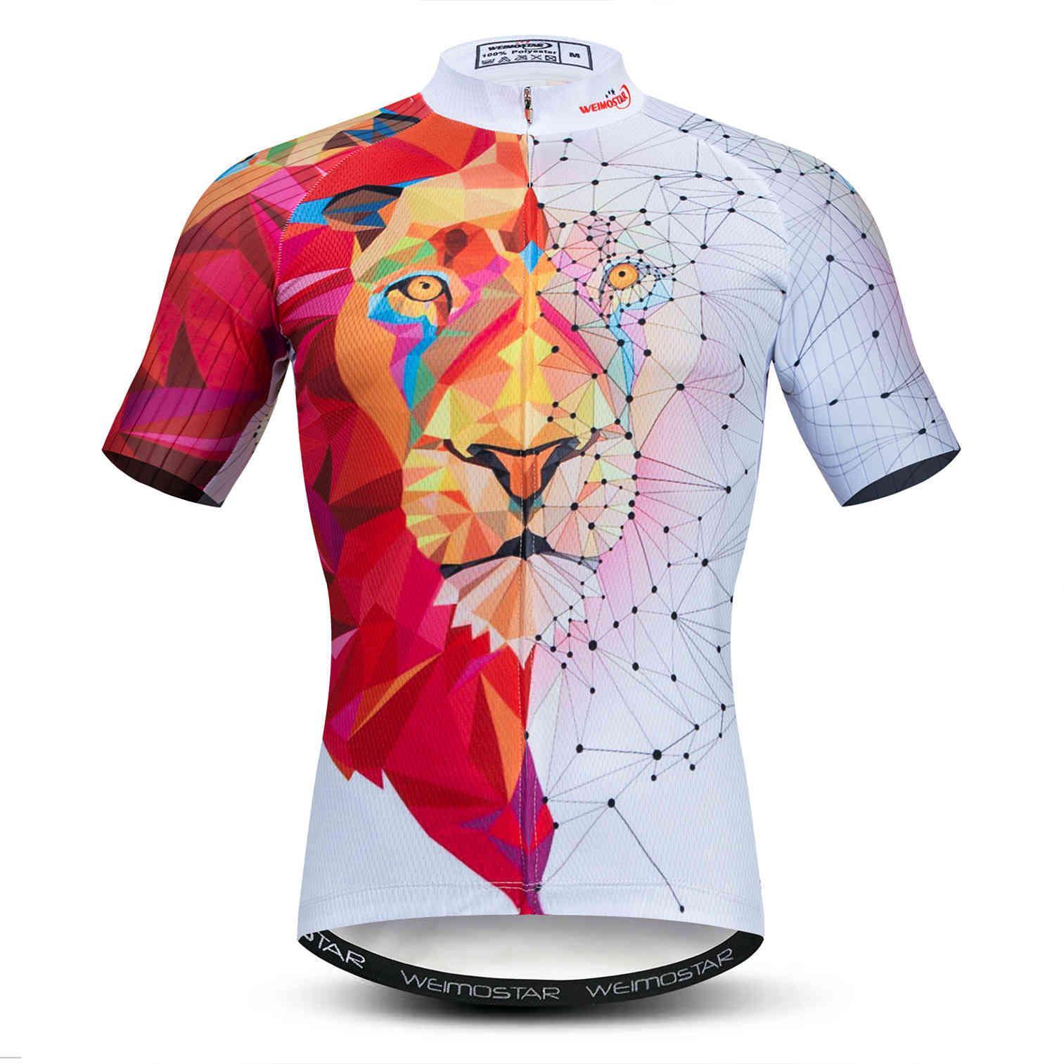 2021Scycling Jersey Men Bike Mountain MTB рубашка MTB Maillot Ciclismo Top Летняя дорога велосипедные гоночные одежды Открытый волк белый красный x0503
