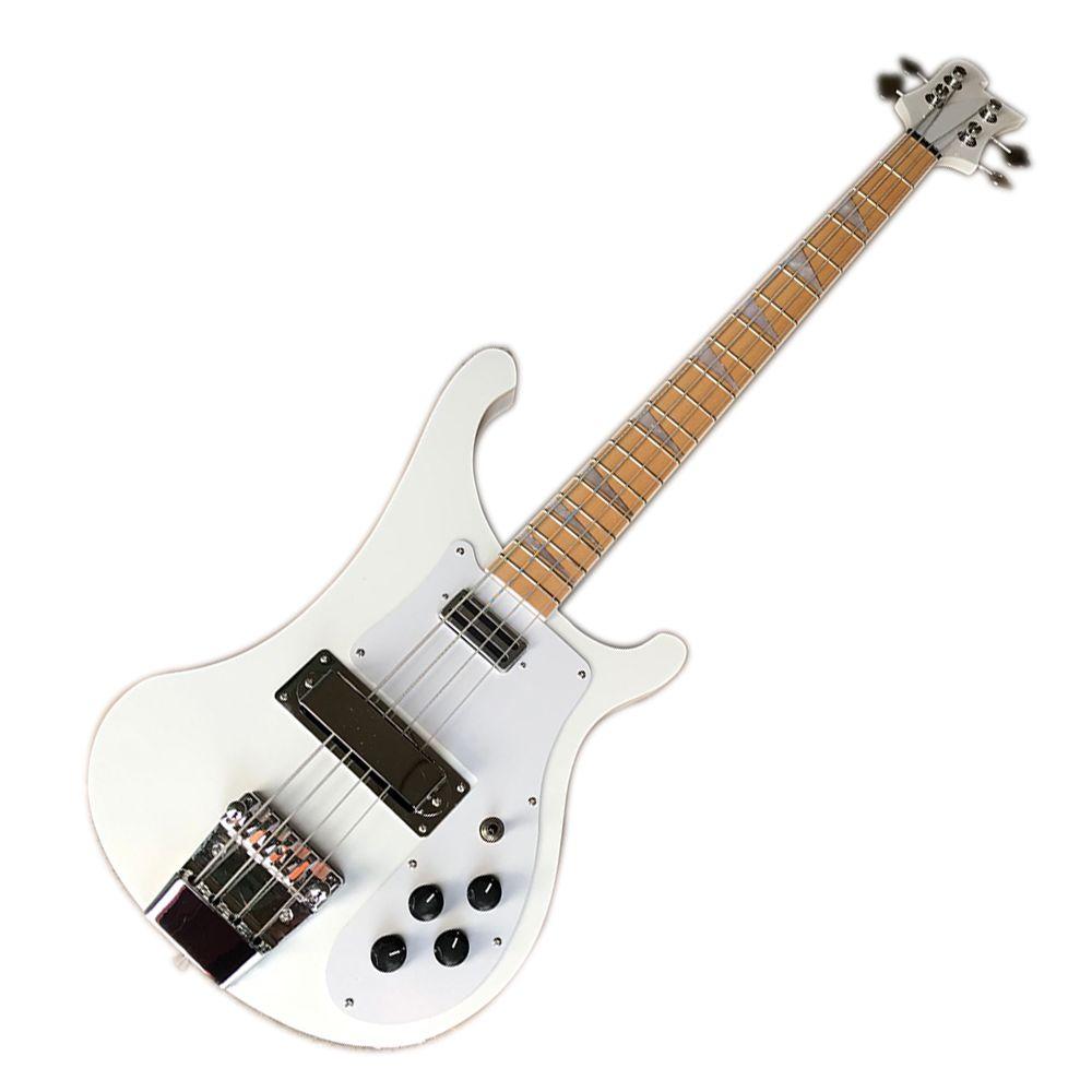 Blanco 4 cuerdas 4003 Ricken Electric Bass Guitarra con fretbook de palisandro