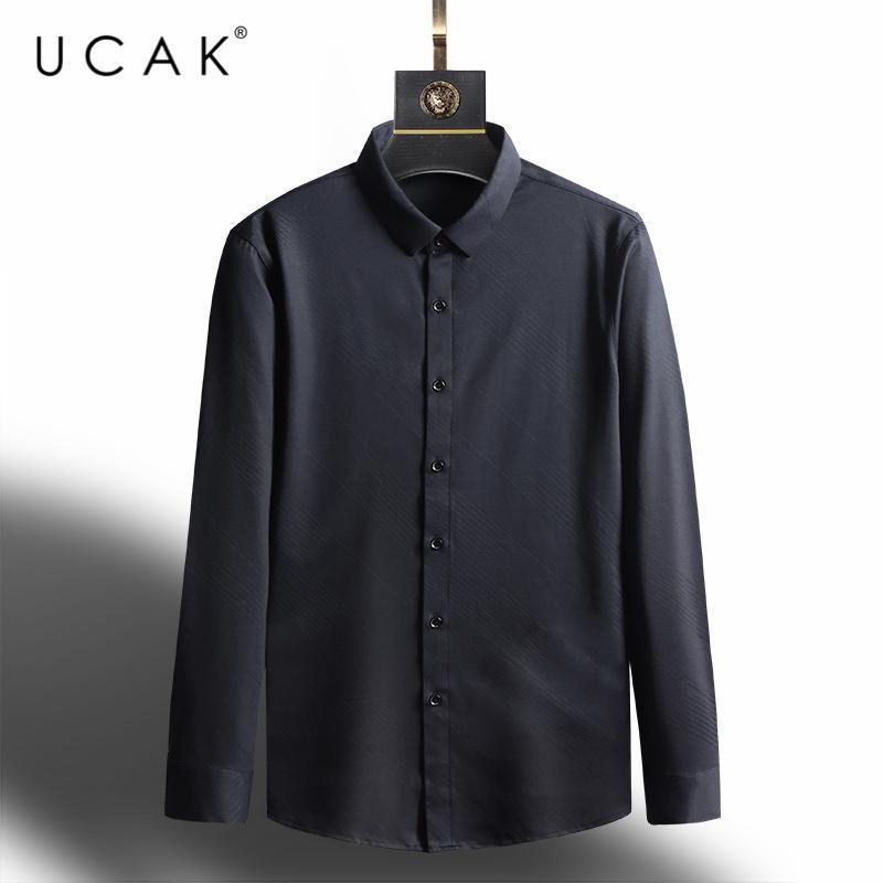 브랜드 스트리트웨어 셔츠 봄 패션 스타일 캐주얼 긴 소매 턴 다운 칼라 스트라이프 남성 의류 Homme U6139 남자 셔츠