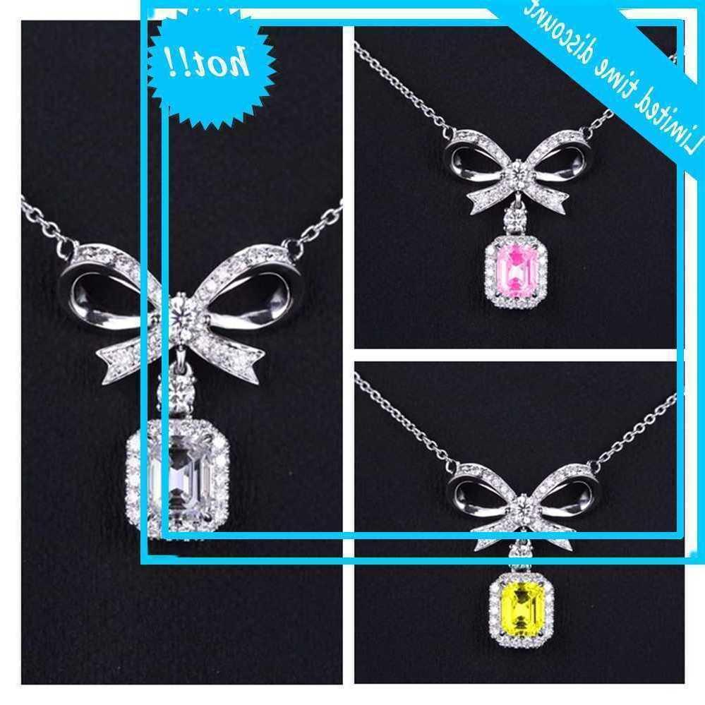 Pure Argent 925 Femmes Bijoux Top Qualité Cristal Jaune Jaune Bow Knot Chain Chaîne Princesse Brieloft Accessoires