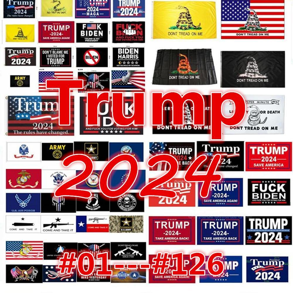Оптовая продажа 126 дизайнов прямой завод 3x5 Ft 90 * 150 см Сохранить Америку снова Трамп Флаг на 2024 президент U.S. Ensign DHL Fast Ression