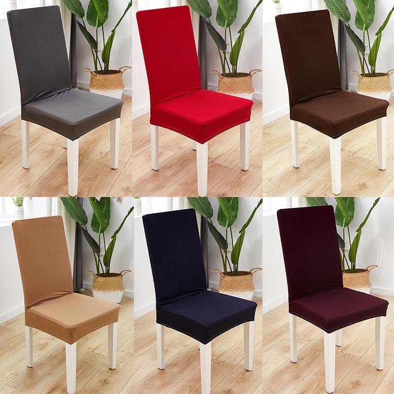 Chair Covers Solid Color Spandex Stretch Dining Room Seat Cover Elastic Protective Case For Restaurant Wedding Banquet