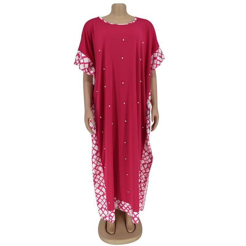Stile atld musulmano allentato abiti da donna abbigliamento abbigliamento africano bolla perline manica corta abito costume moda etnico