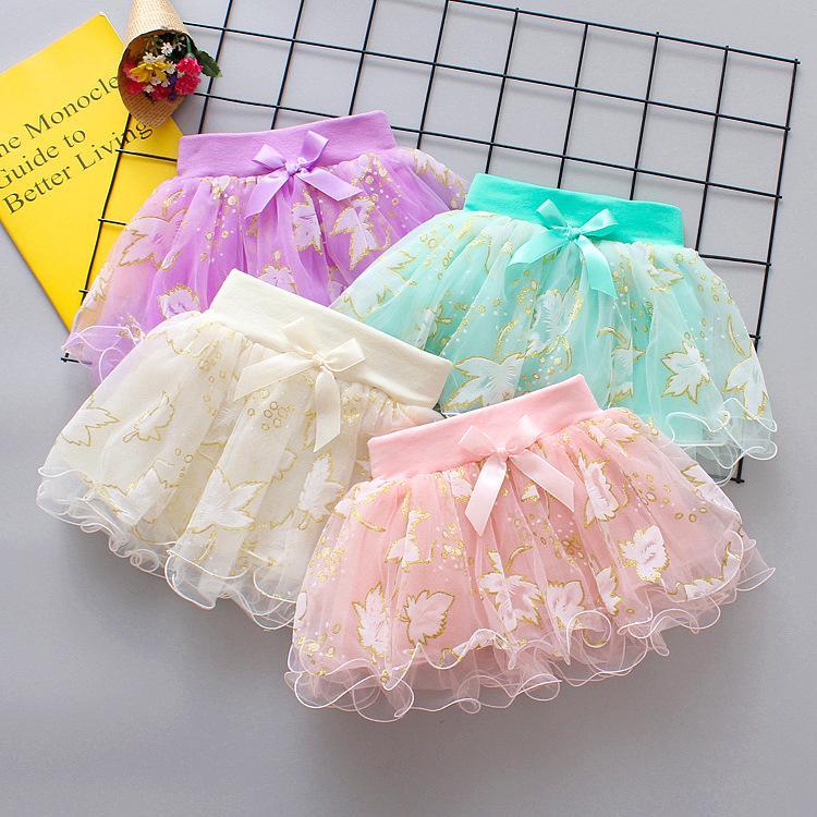 4 unids / lote Baby Girls Hoja Bordado Lentejuelas Tutu Falda Vestido Niños Niña Coreano Lindo Lleve Plised Princess Faldas Danza Vestidos Niños Ropa Boutique
