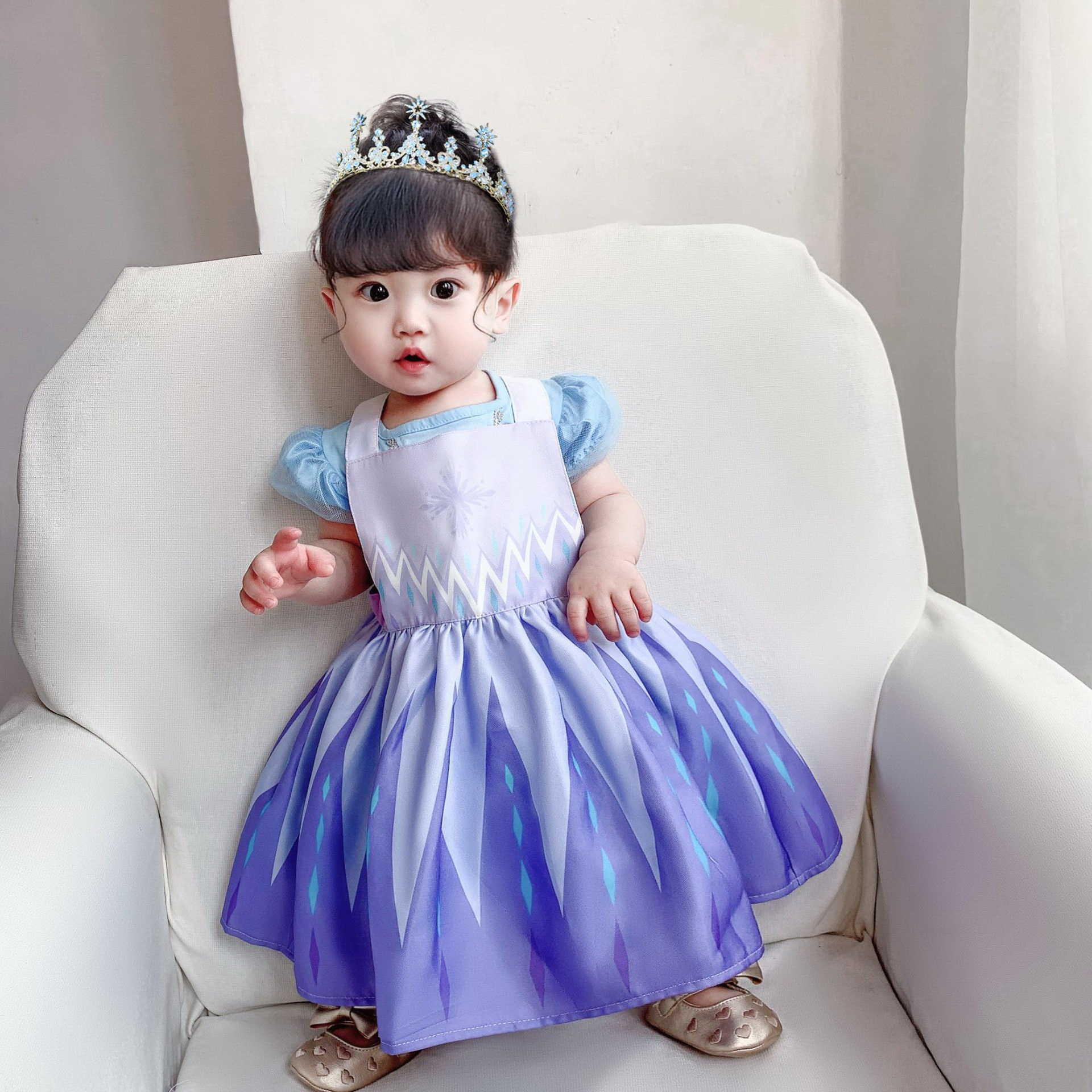 In Children Waterproof Apron Dress Girls Cartoon Princess Drawing Coverall overall 2-7Y E1119 210610