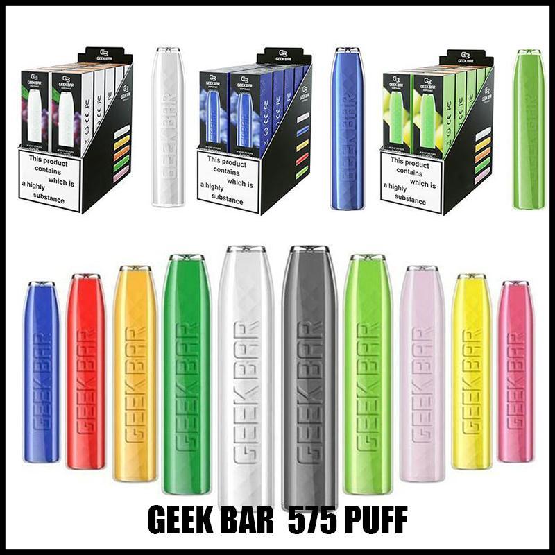 Geekvape geek bar jetable e cigarettes 575 bouffées de vape stylo de vape 2.4ml Pods prérempli Kit cartouche 500mAh Kit de démarreur de batterie 57 ml Kit de démarreur de batterie 57mla Kit de démarreur pré-rempli 2% de vapes avec 12 couleurs