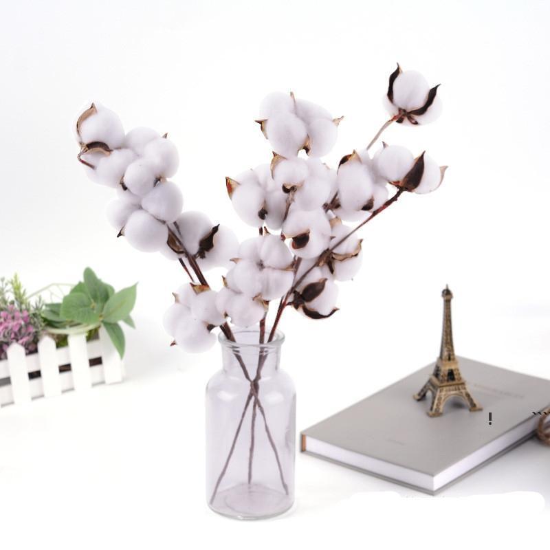 Natürlich getrocknete Baumwollstiele Bauernhaus Künstliche Blumenfüller Floral Decor Gefälschte Blumen DIY Girlande Home Hochzeit Liefert FWD6283