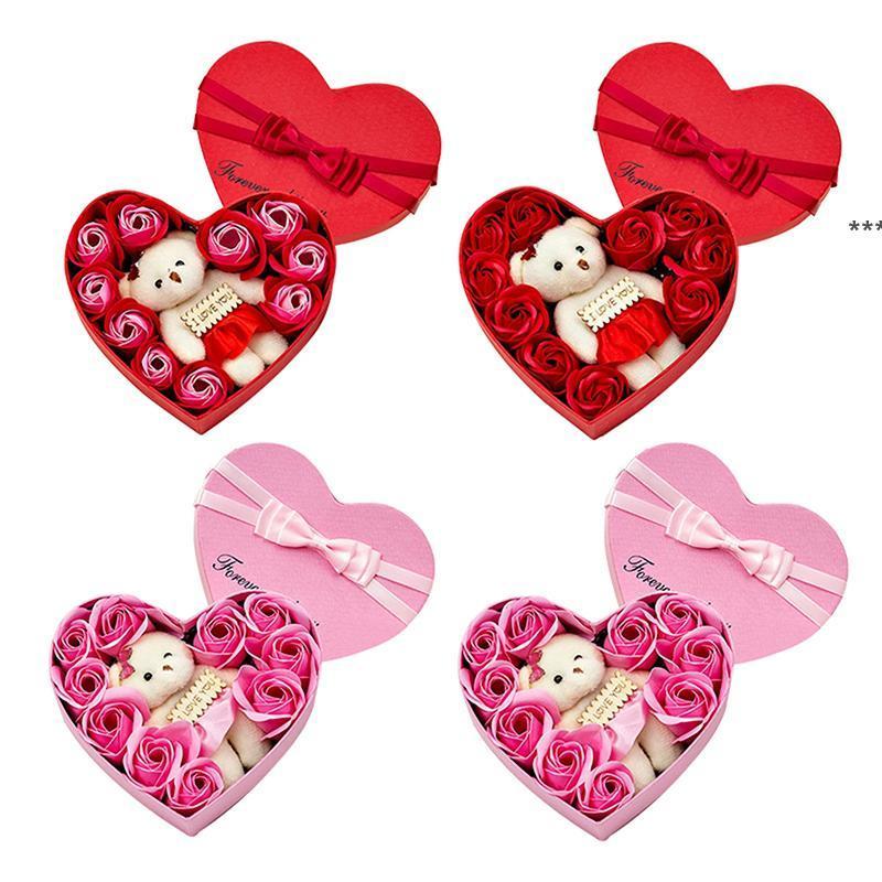 عيد الحب روز هدية مربع حزب صالح 10 الصابون زهرة الدب باقة الزفاف الديكور هدايا عطلة رومانسية على شكل قلب صناديق HHA7